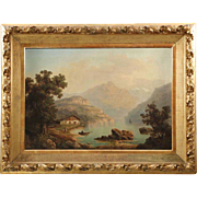 Large Antique Landscape Painting of Cabin by Lake, A. Modinger