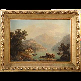 Large Antique Landscape Painting of Cabin by Lake, A. Modinger