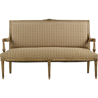 French Louis XVI Style Antique Painted Settee Sofa