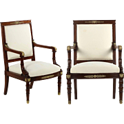 Pair of Napoleon III Antique Mahogany Arm Chairs, 19th Century