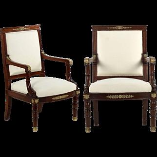 Pair of Napoleon III Antique Mahogany Arm Chairs, 19th Century