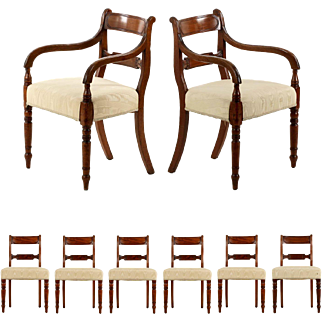 Eight Regency Antique Dining Chairs, England, 19th Century