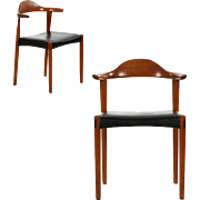 Pair of Danish Mid-Century Modern Vintage Arm Chairs, Sculpted Teak Elbow or Cowhorn form