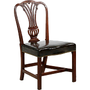 English Georgian Antique Side Chair with Carved Mahogany, Late 18th Century