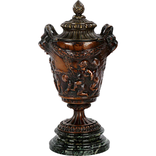 Grand Tour Antique Bronze Sculpted Vase of Putto and Satyr