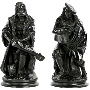 Pair of Antique French Bronze Sculptures of Rembrandt and Albrecht Durer