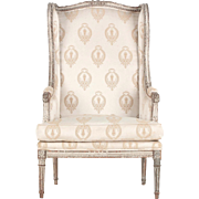 French Louis XVI Antique Distressed Arm Chair, 19th Century
