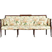Fine American Federal Birch Inlaid Mahogany Antique Settee Sofa, 19th Century