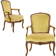 Pair of French Louis XV Antique Fauteuil Arm Chairs, 18th Century
