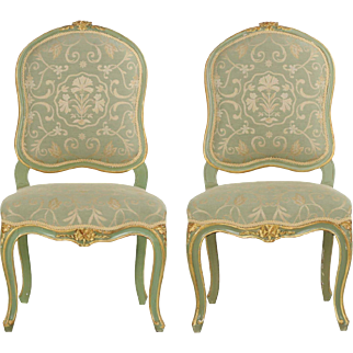 Pair of French Louis XV Style Distressed Green Painted Antique Side Chairs, 19th Century