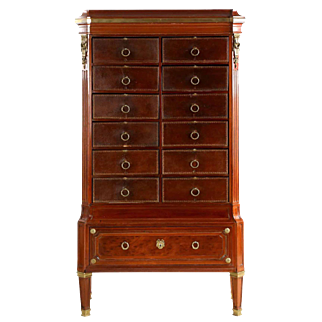 French Louis XVI Style Antique Chest of Drawers Cartonnier, 19th Century