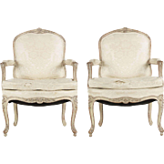 Vintage Pair of Louis XV Style Distressed Painted Arm Chairs, 20th Century