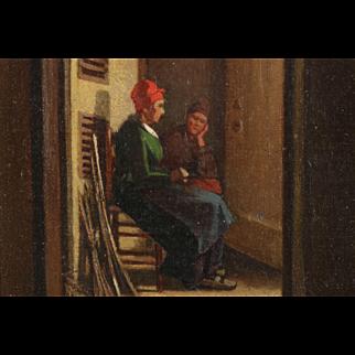 Antique Painting of Dutch Interior w/ Figures in Hallway c. 1864