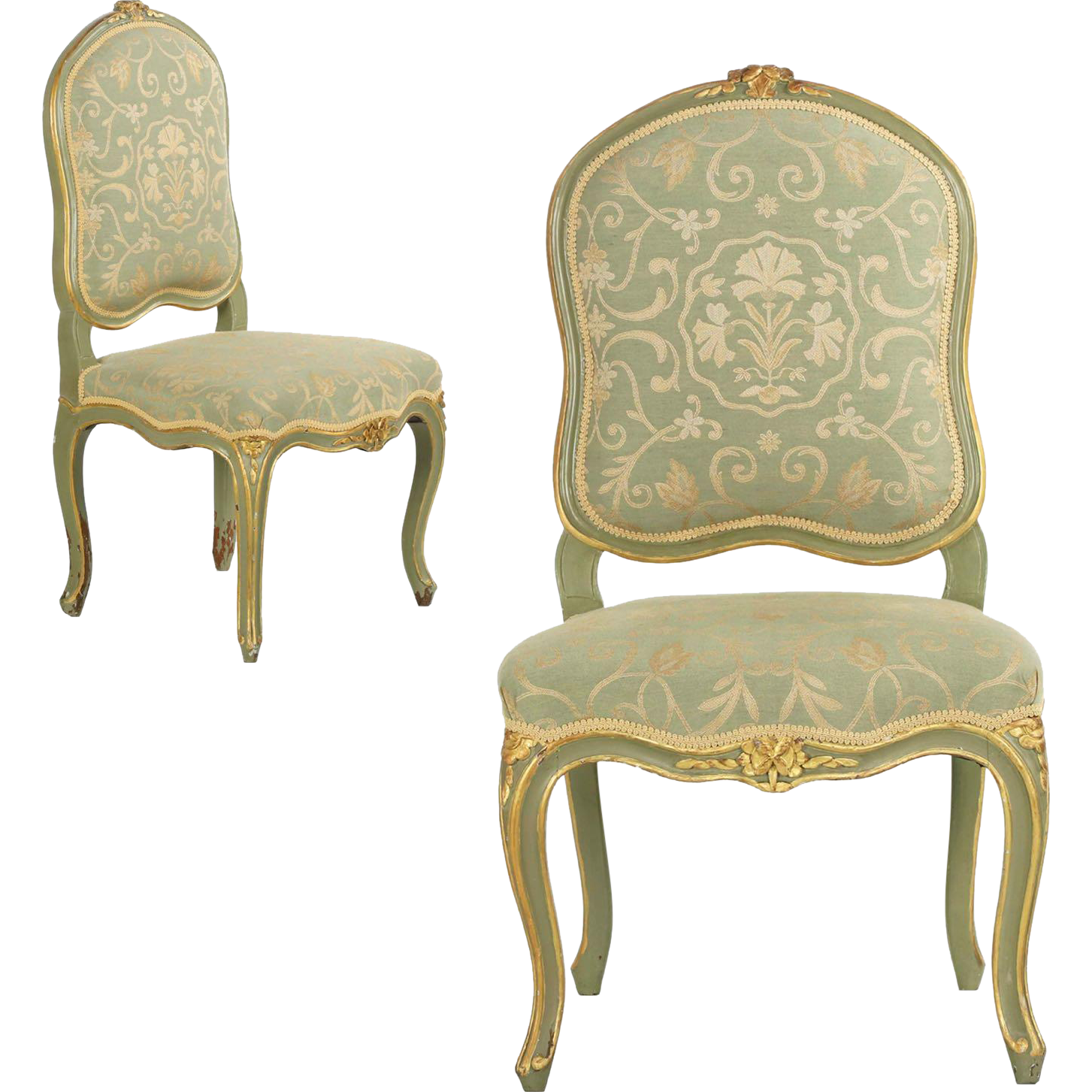 Pair Of French Louis Xv Green Painted Antique Side Chairs