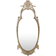 Early 20th Century Antique Carved and White Painted Wall Mirror