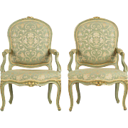 Pair of French Green Painted Louis XV Style Antique Arm Chairs, 19th Century
