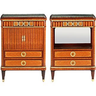 Pair of Maison Krieger French Louis XVI Style Antique Cabinets, 19th Century