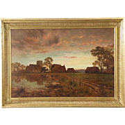 Antique Landscape Painting of Farm and Church by Pond, Robert Gallon (English, 1845-1925)