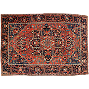 Authentic Semi-Antique Heriz Herez Rug Carpet c. 1920-30