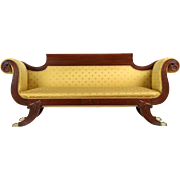 American Classical Style Antique Mahogany Sofa, 19th Century