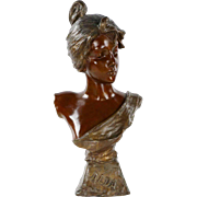 "Art Nouveau Bronze Sculpture of ""Alda"" by Emmanuel Villanis"