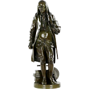 French Antique Bronze Sculpture of Benjamin Franklin after Jean-Jules Salmson
