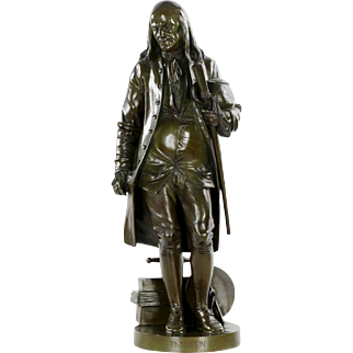 French Antique Bronze Sculpture of Benjamin Franklin after Jean-Jules Salmson