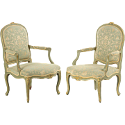 Pair of French Louis XV Style Antique Arm Chairs in Green Paint, 19th Century