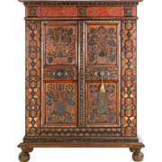 Antique Folk Art Painted Armoire, European, 19th Century