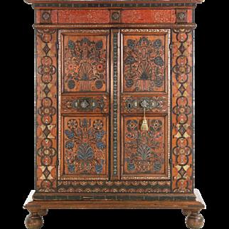 Antique Folk Art Painted Armoire, European, 19th Century