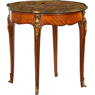 French Louis XV Style Antique Parquetry Side Table c. 1900
