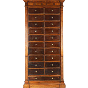Empire Antique Walnut Leather Cartonnier Cabinet c. 1900
