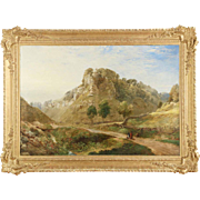 Large British Landscape Painting of Mountains, 19th Century