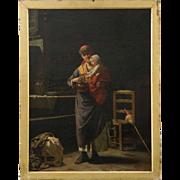 Fine Interior Scene Painting of Woman and Child by Luigi Scaffa, 19th Century