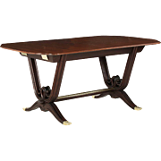 French Art Deco Rosewood and Mahogany Dining Table, circa 1930