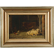 Frans Lebret Dutch Antique Painting of Sheep in Barnyard, 19th Century