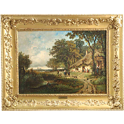 Antique French Barbizon Oil Painting of Village Life, 19th Century