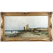 Fine Antique Barbizon Seascape Painting by Eduard Fischer c. 1884