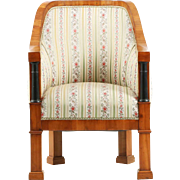 Biedermeier Period Cherrywood Antique Arm Chair, 19th Century