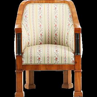 Biedermeier Period Cherrywood Antique Arm Chair, 19th Century