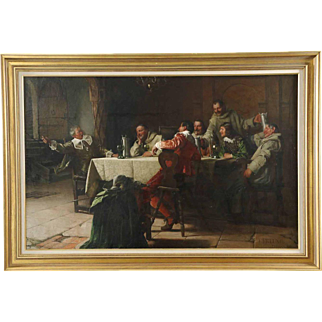 Fritz Freund Antique Oil Painting of Monks & Soldiers c. 1890
