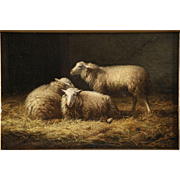 Antique Barnyard Painting of Sheep by Albert Smets c. 1878