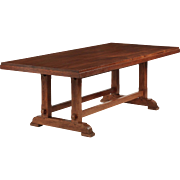 English Arts & Crafts Teak Trestle Dining Table, c. 1930