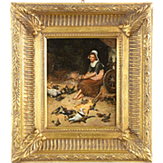Antique Continental Painting of Maiden with Birds in Barnyard, 19th Century