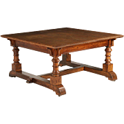 English Arts & Crafts Period Oak Library Table, 19th Century