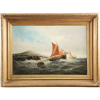 British School Antique Seascape Painting of Ships in Rough Waters, 19th Century