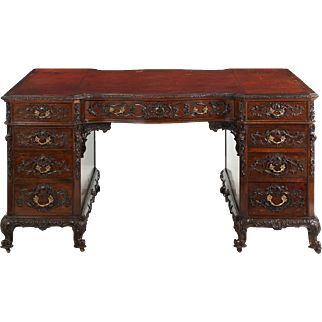 English Rococo Revival Carved Mahogany Leather Top Partner's Desk, London c. 1880