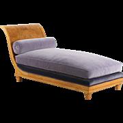 Biedermeier Style Burlwood Chaise Lounge Longue, 20th Century