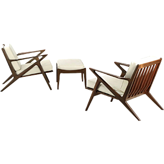 """Pair of Poul Jensen for Selig Danish Modern """"Z"""" Lounge Chairs w/ Footstool"""