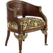 Napoleon III Mahogany Arm Chair in the Egyptian Taste, 19th Century